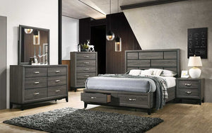 Bedroom Set with Deep Lines Accented & Drawers 8 pc - Washed Grey