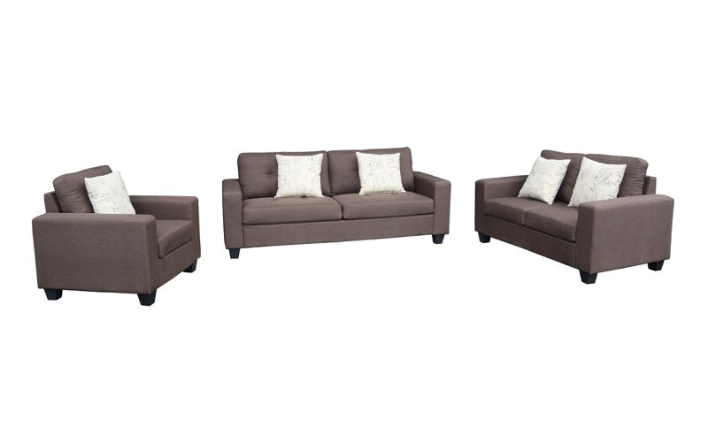 Sofa Set - 3 Piece - Grey | Chocolate