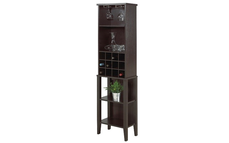 Wine Rack with Shelves - Grey | Dark Cherry