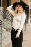 Button Sleeve Elegance Turtleneck Sweater In Ivory