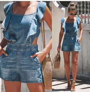 Ruffled Denim Shorts Romper