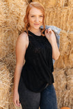 Knotted Hem Tank in Black
