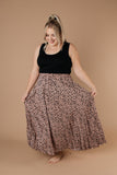 Pleated & Spotted Mauve Midi Skirt