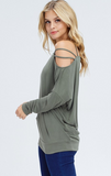 Long Sleeve Strappy Cold Shoulder