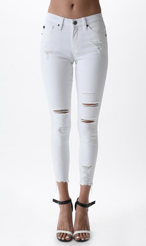 Tisha White Distressed Skinnies
