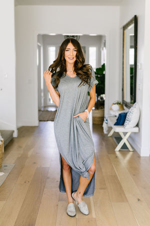 Above The Haze Gray Maxi Dress