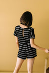 Comfort Stripes Romper In Black