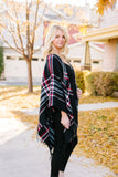 Plaid Girl Fringed Open Poncho