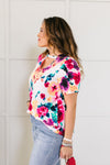 Watercolor Flowers Keyhole Top In Ivory