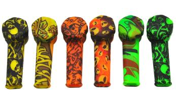 Silicone Smoking Pipe Funny Skull Alien Pattern hand pipe