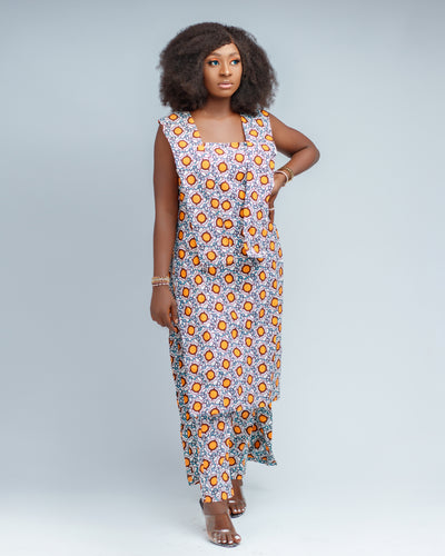 Yara African print side split long top