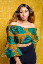 Load image into Gallery viewer, Amara African print Ankara off shoulder crop top - Afrothrone