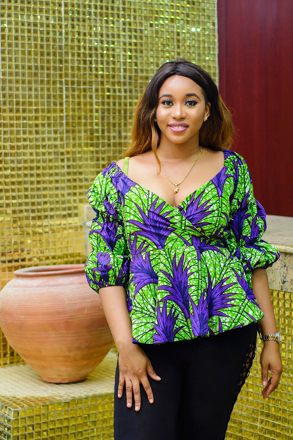 Chioma African Print Ankara wrap top - Afrothrone