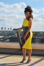 Load image into Gallery viewer, Sabra African print Ankara patch work yellow midi dress - Afrothrone