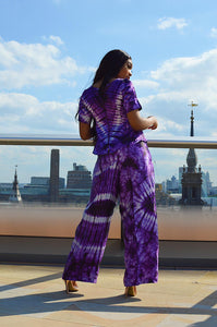 Mitchell African print tie dye satin 2 piece matching set - Afrothrone