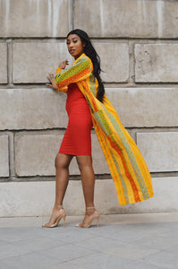Binta African Print Kente duster coat - Afrothrone