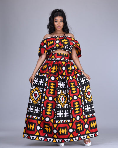 Lulu African print maxi skirt and crop top matching set / co-ord 2 piece