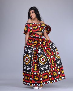 Lulu African print maxi skirt and crop top matching set / co-ord 2 piece - Afrothrone