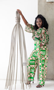 Binah African print silk pants