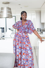 Load image into Gallery viewer, African print Ajare silk gathered waist palazzo pants trousers