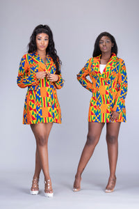 Efya African Print kente 2 piece suit / blazer dress - Afrothrone