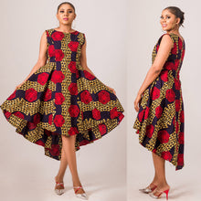 Cargar imagen en el visor de la galería, NEW IN Abims African print Ankara high low pleated flay dress - Afrothrone