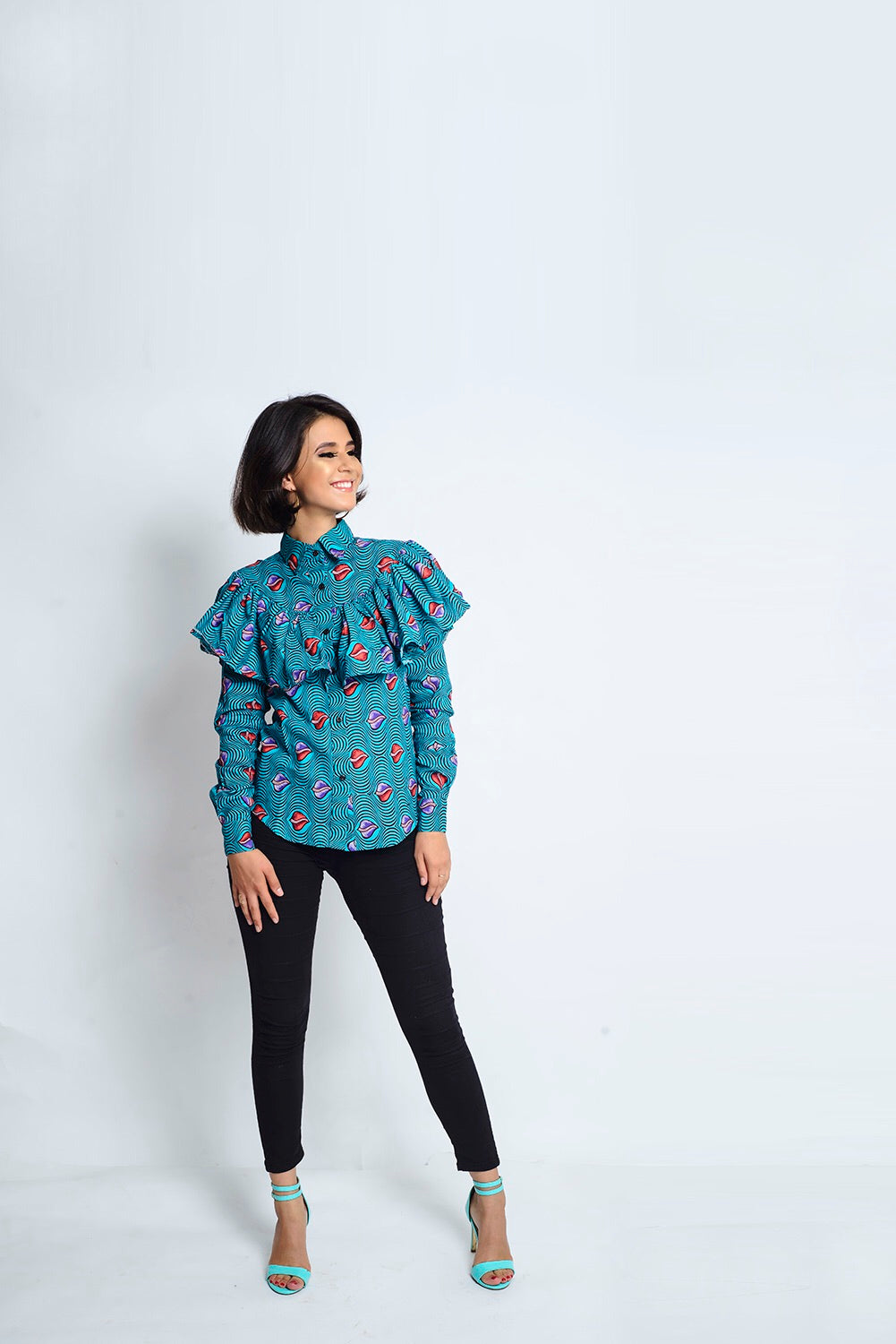 Iyabo African Print Ankara frill long sleeve shirt - Afrothrone