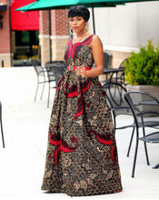 Load image into Gallery viewer, Sanaa African print Maxi dress - Afrothrone
