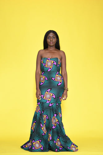 Didi African print Ankara multi-way detachable fishtail dress - Afrothrone