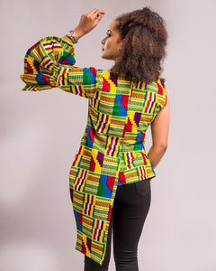 NEW IN Desta African print Ankara deconstructed Asymmetrical shirt top - Afrothrone