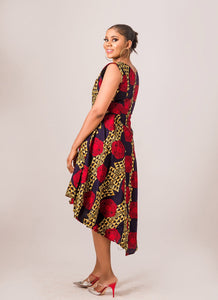 NEW IN Abims African print Ankara high low pleated flay dress - Afrothrone