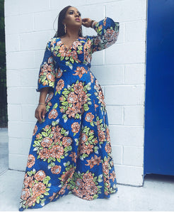 Afua African Print Ankara Maxi wrap dress - Afrothrone