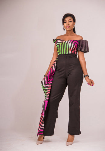 Tumelo African print wrap jumpsuit - Afrothrone