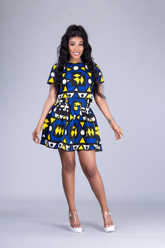 Wunmi 2 piece skater skirt and crop top matching set - Afrothrone
