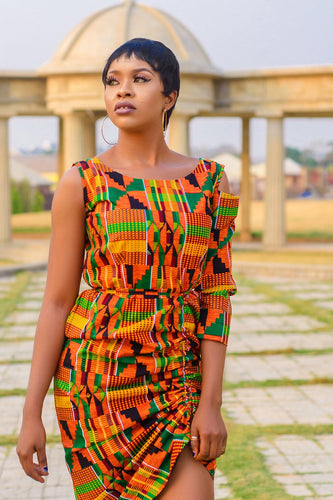 NEW IN Kwanza African print drawstring dress - Afrothrone
