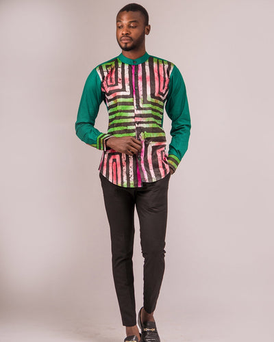 Ade African tie dye men shirt - Afrothrone