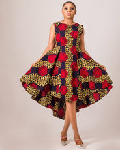 Afbeelding in Gallery-weergave laden, NEW IN Abims African print Ankara high low pleated flay dress - Afrothrone