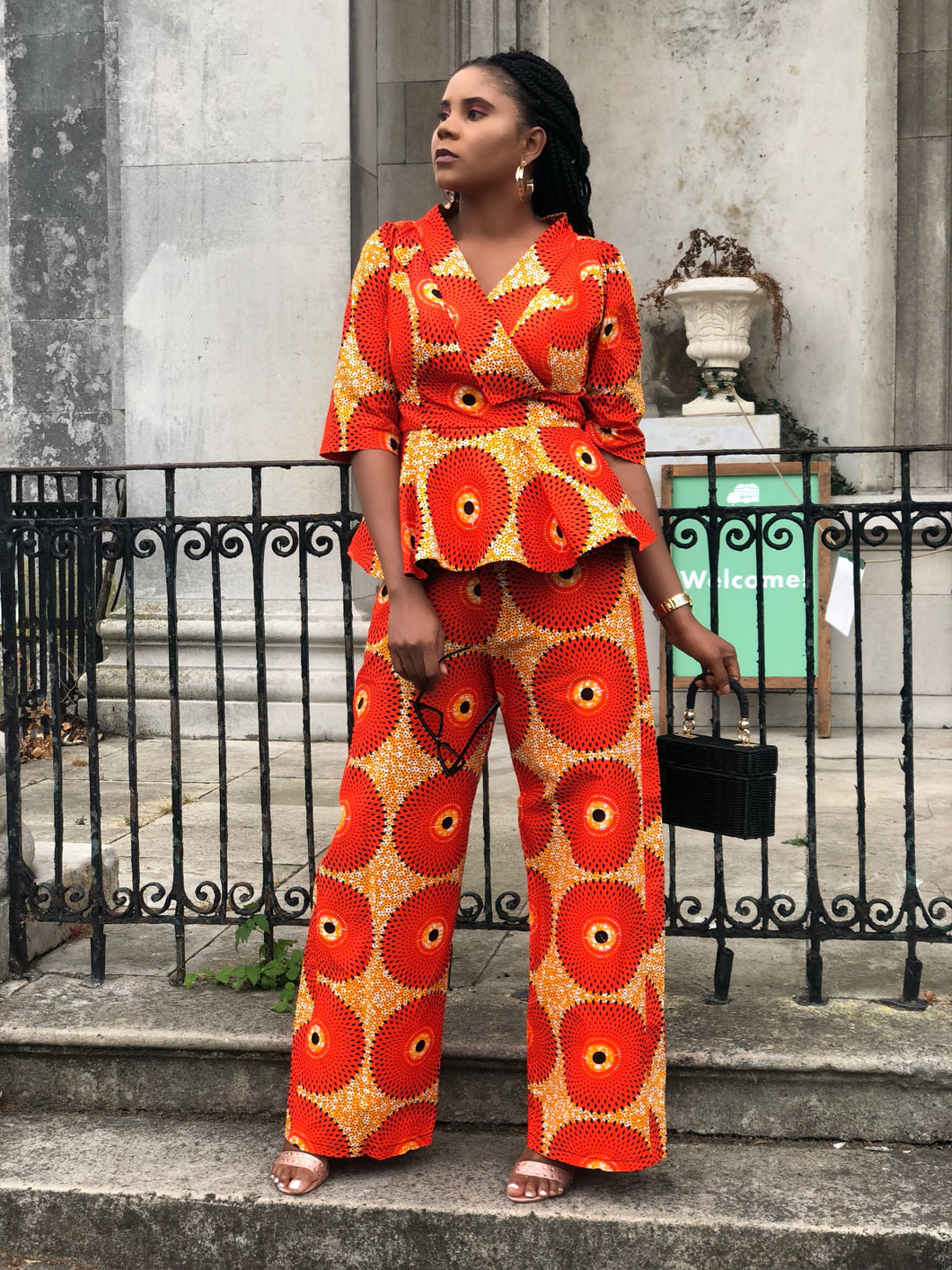 Afoma African print wax Ankara wide leg pants / trousers - Afrothrone