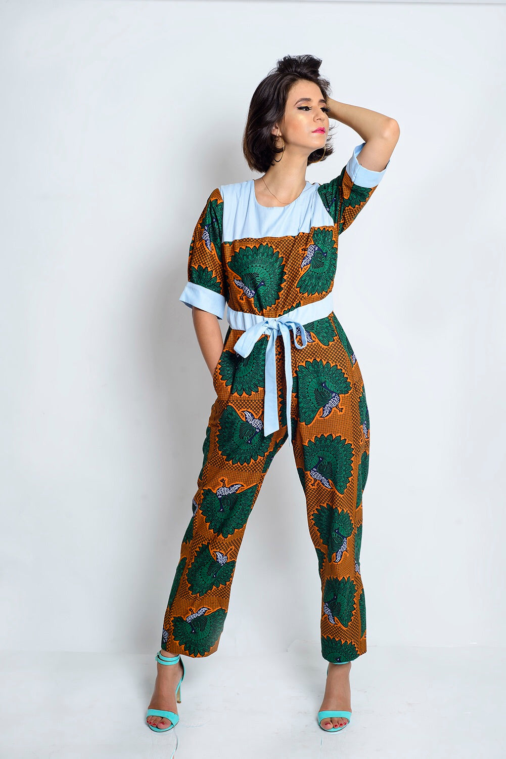 Doshima African Print Ankara jumpsuit with shirt details - Afrothrone
