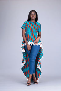 Tolu African print Ankara peplum high low top - Afrothrone