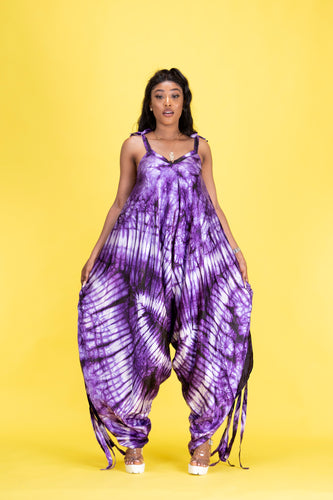 Atika African tie dye print harem jumpsuit - Afrothrone