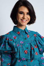 Load image into Gallery viewer, Iyabo African Print Ankara frill long sleeve shirt - Afrothrone