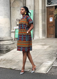 Mawusi African print kente tunic dress - Afrothrone