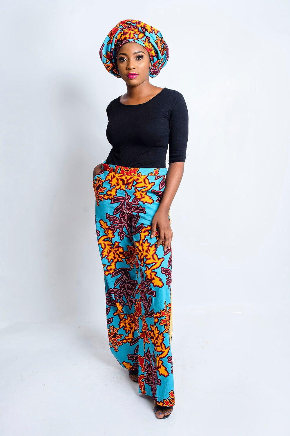 Mara African print stripe trouser/pants - Afrothrone