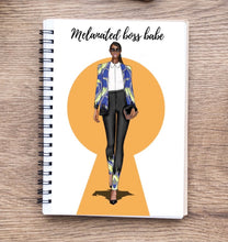 Load image into Gallery viewer, Melanated boss babe motivational Wire notebook/Journal