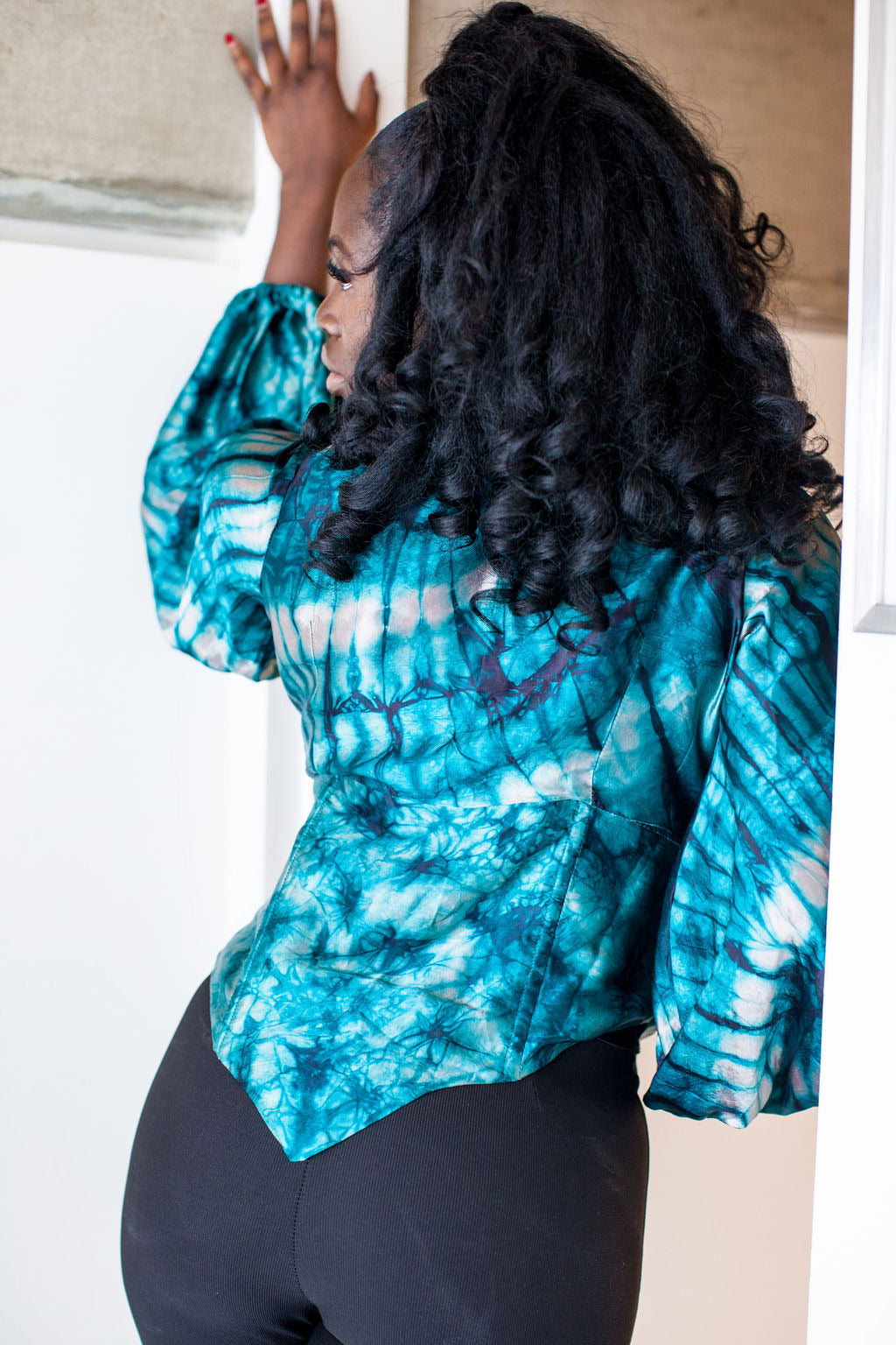 Makenna African tie dye silk top