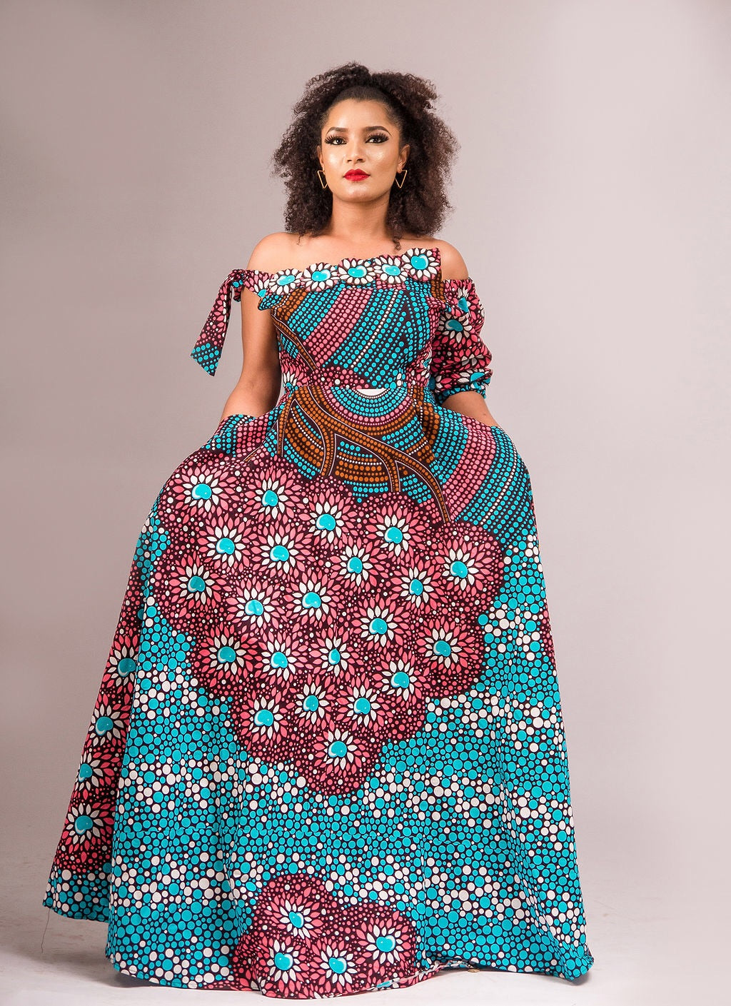 NEW IN Ashanti African print Ankara maxi dress - Afrothrone