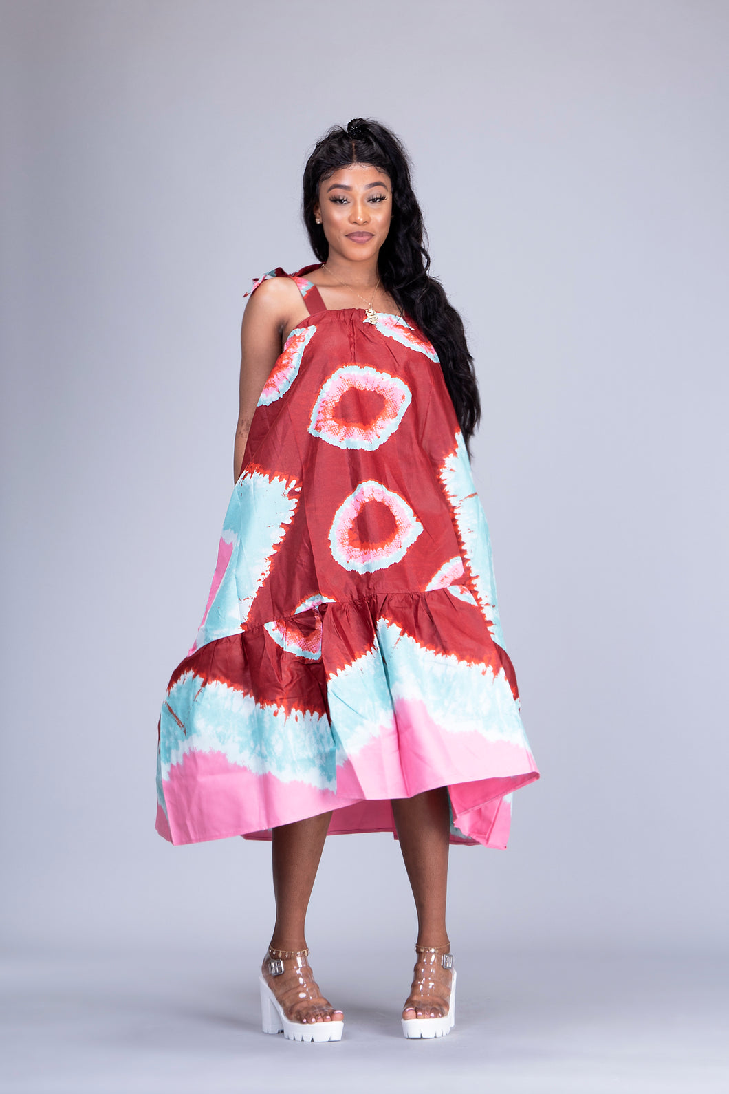 Tia African tie dye adire midi dress - Afrothrone