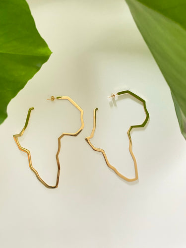 African Map 18 Karat Gold Plated Large Hoop Earrings