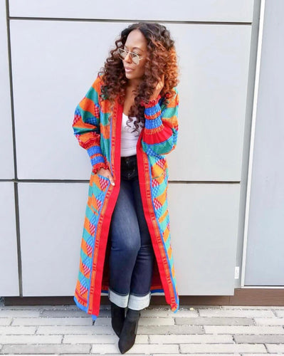 Dhakirah African print duster coat - Afrothrone